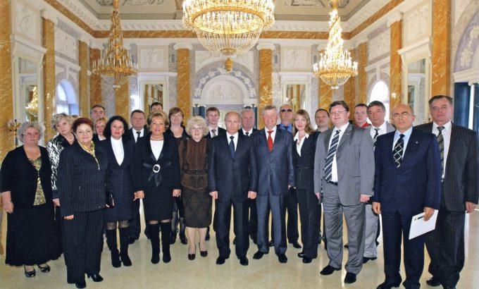 Лидеры членских организаций ЛФП во главе с председателем ЛФП Владимиром Дербиным во время встречи с премьер-министром России Владимиром Путиным. 2010 год.